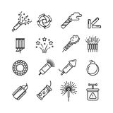 Festival dynamite, party fireworks, festive spark, holiday pyrotechnic line vector icons. Set of pyrotechnic icon line style, illustration of dynamite, rocket Royalty Free Stock Photography