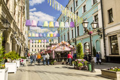 the Festival Easter in Moscow , the decoration in Stoleshnikov pereulok Stock Photos