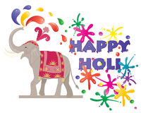 Festival elephant. An illustration of a ceremonial elephant spraying colorful paint to celebrate the hindu festival of holi isolated on a white background Royalty Free Stock Image