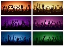 Festival eller konsert för musik för kontur för partimänniskahänder som strömmar ner från ovannämnd illustration för vektor för e stock illustrationer