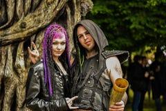 Festival en métal de Hellfest, couple de metalheads Photographie stock libre de droits