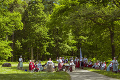 The festival of ethnic groups, Vabaohumuuseumi kivikulv. TALLINN, ESTONIA - YUNI 15, 2015: The festival of ethnic groups in Museum Estonian open air Stock Photography