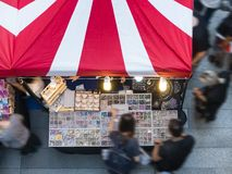 Festival event Fair outdoor market with people shopping. Top view Royalty Free Stock Photos
