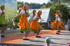 During festival events dedicated to 69th anniversary of urban-type settlement Nikolskiy . Royalty Free Stock Image