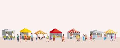 Festival extérieur avec des camions de nourriture, tentes, tentes, crème glacée, café, hot-dog, fleurs, boulangerie, personnes de illustration de vecteur