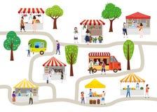 Festival exterior do alimento da rua com os povos que andam entre camionetes ou fornecedores, dossel, refeições da compra, comend ilustração do vetor