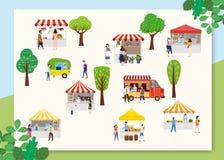 Festival exterior do alimento da rua com os povos que andam entre camionetes ou fornecedores, dossel, refeições da compra, comend ilustração royalty free