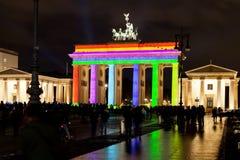 Festival för anf för Brandenburg port av ljus i Berlin Arkivfoto