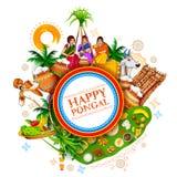 Festival felice del raccolto di festa di Pongal del fondo del sud di saluto dell'India del Tamil Nadu illustrazione di stock
