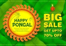 Festival felice del raccolto di festa di Pongal del fondo del sud di vendita e della pubblicità dell'India del Tamil Nadu illustrazione di stock