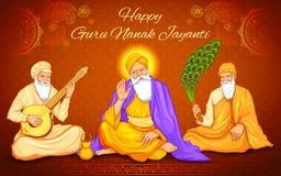 Festival felice di Guru Nanak Jayanti del fondo sikh di celebrazione illustrazione vettoriale