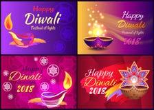 Festival feliz de Diwali del ejemplo del vector de la luz stock de ilustración
