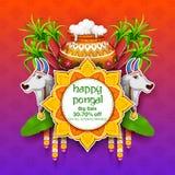 Festival feliz de la cosecha del día de fiesta de Pongal del fondo del sur de la exportación y del anuncio de la India del Tamil  stock de ilustración