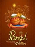 Festival feliz de la cosecha del día de fiesta de Pongal del fondo del sur del saludo de la India del Tamil Nadu libre illustration