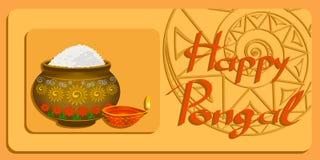 Festival feliz de la cosecha de Pongal en el vector EPS de la India ilustración del vector