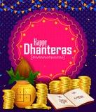 Festival feliz de la luz de Dhanteras Diwali del fondo de saludo de la India ilustración del vector