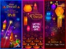 Festival feliz de la luz de Diwali del fondo de la bandera de la venta del anuncio del saludo de la India ilustración del vector