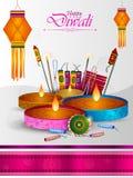 Festival feliz de la luz de Diwali del fondo del saludo de la India libre illustration