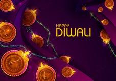 Festival feliz de la luz de Diwali del fondo del saludo de la India stock de ilustración