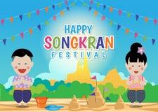 Festival feliz de Songkran - o menino tailandês e a menina tailandesa respeitam as mãos e em pagodes da areia no projeto do verct ilustração do vetor