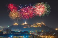 Festival firework annual at Phetchaburi province. Thailand Royalty Free Stock Images