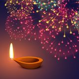 Festival fireworks background with diya. Vector Royalty Free Stock Photography