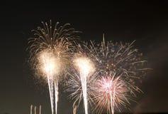 Festival fireworks burst in midair. Wonderful festival fireworks show , TX USA royalty free stock photo
