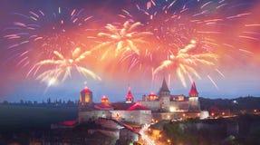 Festival fireworks over the castle Stock Image