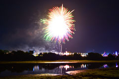 Festival Fireworks and River Reflections. Fireworks create silhouettes with trees and reflections on the River Medina, at the Isle of Wight Festival in Newport Royalty Free Stock Photography