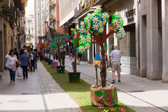 Festival of floral decorations in Girona. GIRONA, SPAIN - MAY 14, 2015: Temps de Flors Girona - famous Girona Festival of floral decorations in Girona. Decorated stock images