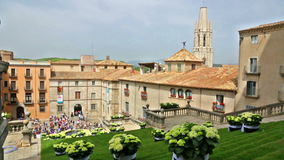 Festival of floral decorations in Girona stock video footage
