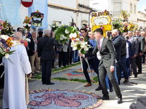Festival of the floral torches. Celebrants proclaim the risen Christ on Easter Sunday during Festa Das tochas Floridas in Sao Bras De Alportel, Portugal Stock Images