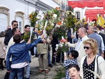 Festival of the floral torches. Celebrants proclaim the risen Christ on Easter Sunday during Festa Das tochas Floridas in Sao Bras De Alportel, Portugal Royalty Free Stock Photography