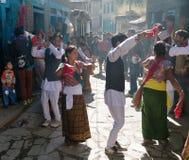 Festival folclórico en el pueblo de Dunai - Nepal Imagen de archivo