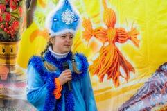 Festival folklorique russe d'hiver dans la région de Kaluga le 13 mars 2016 Photo libre de droits