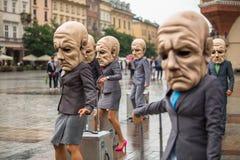 Festival för Krakow teaternatt - KTO Teatre i huvudsaklig marknadsfyrkant Fotografering för Bildbyråer