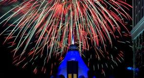 Festival, fuochi d'artificio, il giorno la città di Astana Immagini Stock Libere da Diritti