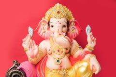 Festival Ganapati oder des ganesh oder glücklicher Ganesh Chaturthi Greeting Card, die Fotografie von Lord ganesha Idol mit sansk Stockbild