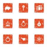 Festival gift icons set, grunge style. Festival gift icons set. Grunge set of 9 festival gift vector icons for web isolated on white background Royalty Free Stock Image