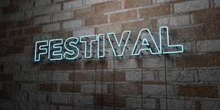 FESTIVAL - Glowing Neon Sign on stonework wall - 3D rendered royalty free stock illustration. Can be used for online banner ads and direct mailers Royalty Free Stock Images