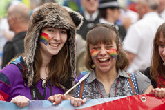 Festival goers have a laugh Stock Images