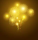 Festival golden fireworks on dark background Royalty Free Stock Photo