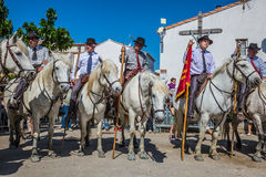 Festival of Gypsies. Sent-Mari-de-la-Mer, Provence, France - May 25, 2015.  Square in the center of the city. Convoy on white horses before the start of the Stock Photos