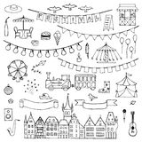 Festival hand drawn doodle set. Vector illustration for backgrounds, card, posters, textile prints, covers, fliers Stock Photo