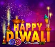Festival heureux de lumière de Diwali de fond de salutation d'Inde illustration de vecteur