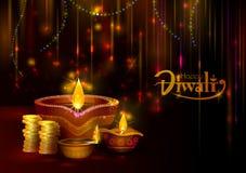 Festival heureux de lumière de Diwali de fond de salutation d'Inde illustration libre de droits