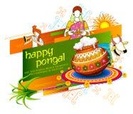Festival heureux de récolte de vacances de Pongal de fond du sud de salutation d'Inde de Tamil Nadu illustration libre de droits