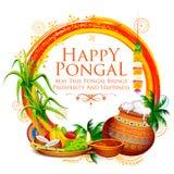 Festival heureux de récolte de vacances de Pongal de fond du sud de salutation d'Inde de Tamil Nadu illustration de vecteur