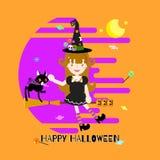Festival heureux de vacances de Halloween avec la fille de sorcière et le balai, chat noir, potiron, sucrerie illustration libre de droits