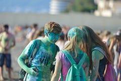 Festival Holi i Sochi Arkivfoto